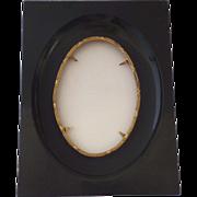 Vintage French Ebonized and Gilt Metal Slip Oval Frame