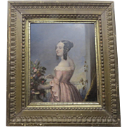 Oil on Board of Young Girl
