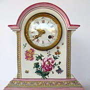 SOLD French Clock with Majolica Glaze Case by Gien