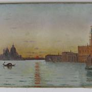 Oil on Canvas Venice by E.A. Deslandes Venice
