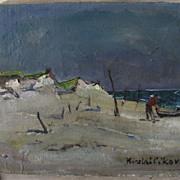 Oil on Canvas by Nicolai Cikovsky  Beach Scene