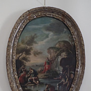 """""""Moses Striking the Rock"""" Oil on Canvas in Oval 18th Century Carved Silver Gilt Fram"""