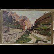 "Attilio Pratella Oil Painting ""Small Street in Capri"""