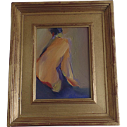 """Nude by Susan Behrendt """"Turned Head"""" Oil on Board Gilt Frame"""