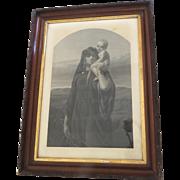 Hagar and Ishmael Print in Carved Walnut Gilt Frame 19th Century
