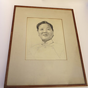 SOLD Drawing of Madame Chiang Kai-Shek by Gladys Hood Detwiler - Red Tag Sale Item
