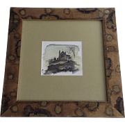 """Watercolor by Marti Lawrence """"Were we Met"""" Church Framed 1995"""