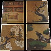 Set of 4 Vintage Metallic Paper Board Prints Nijo Castle Japan Herons Pine