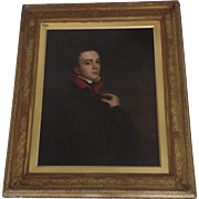 Large English 19th Century Self Portrait Young Man in Opera Cape Cloak