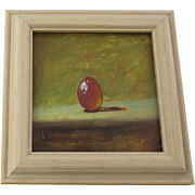 SALE PENDING Small Painting of Orange Egg by J. Woods