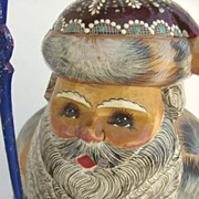 """Hand Carved and Painted Russian St. Nick Santa Large 13 1/2"""" Tall"""