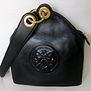 Vintage Fendi Janus Black Leather Handbag with Dust Bag and Box