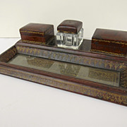 Vintage Leather Gilt Tooled Inkstand Desk Stamps