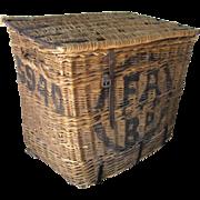 19th Century Large Wicker Lidded Ship's Basket Cargo Wine