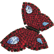 Vintage YSL Yves Saint Laurent Rhinestone Large Butterfly Brooch Pin Signed Designer