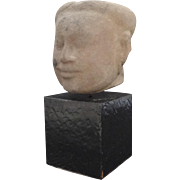 Cambodian Stone Sculpture Head 13th Century