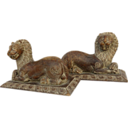 Pair of Very Large Carved Folk Art Recumbent Lions on Bases