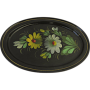 Vintage Russian Hand Painted Oval Tole Tray Floral