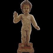 SOLD Large Carved Polychrome Santo Nino Cherub Baby Jesus 18th Century