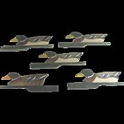 SOLD Set of Five Mallards Duck Wooden J. W. Reynolds Folding Decoys c1910 Folk Art