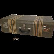 Vintage Mendel Tweet Striped Luggage Suitcase Fitted Silverware Storage Chest