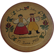 """Mid Century Large Hand Painted Scandinavian Folk Art Wood Tray Charger Plaque 1950 16"""" Di"""
