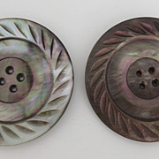 Wonderful Very Large Mother of Pearl Carved Buttons 1 7/8""