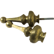 Pair of Monumental Finials Bed Flag Pole Brass Heavy 19th Century Door Pull