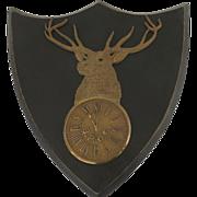 1900's B.P.O.E. Bronze Brass Cast Shield Shape Wall Plaque Elk Club Lodge Clock 11th Hour made