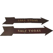 "Vintage Hand Made Painted Metal Signs ""Sale Today"" Arrow"