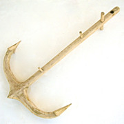 Carved and Painted Folk Art Anchor Hook
