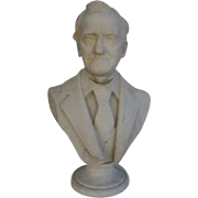 Hand Carved Marble Bust of Man in Suit & Tie