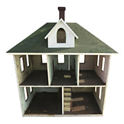 American Painted Dollhouse with Central Chimney