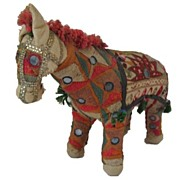 SALE Vintage handwoven embroidered and jeweled horse made in India