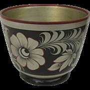 Vintage Folk Art Russian Lacquer Flower Pot Vase Bowl Khokhloma