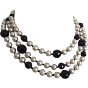 Vintage Three Strand Faux Pearl Black Crystal Necklace