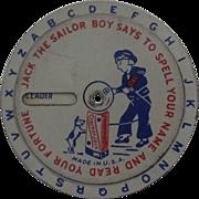 1930's Cracker Jack Tin Fortune Teller Wheel Sailor Boy