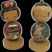 Vintage Large Pair Kosheshi Dolls Wooden Heads Move