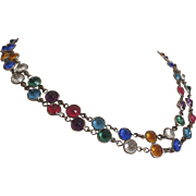 Vintage Double Strand Necklace Bezel Set Multi-Colored Gem Colored Glass Stones