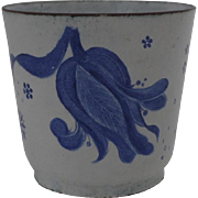 Vintage Enamel Blue and White Cup Tulip Butterfly