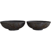 Pair of Vintage Pewter and Brass Chinese Low Bowls
