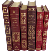 Six (6) Vintage Leather Gilt Tooled Books Franklin Library 1980's
