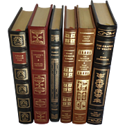 SALE Six (6) Vintage Leather Gilt Tooled Books Franklin Library Poe, Proust, Runyon, Singer, S