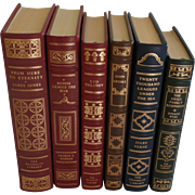 SALE Six (6) Vintage Leather Gilt Tooled Books Franklin Library Jones, Kennan, Tolstoy, Updike
