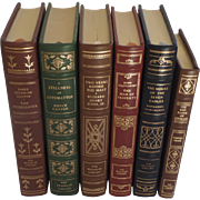 SALE Six (6) Vintage Leather Gilt Tooled Books Franklin Library Cooper, Catton, Dana, ...