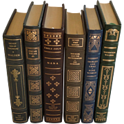 SALE Six (6) Vintage Leather Gilt Tooled Books Franklin Library Walden, Wilde, Sola, Murdoch,
