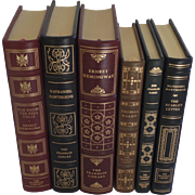 six (6) Vintage Leather Gilt Tooled Books Franklin Library Hemingway, Hawthorne, Hardy, Harris