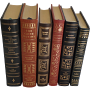 Six (6) Vintage Leather Gilt Tooled Books Franklin Library Signed Warren, Wouk, Wolfe, Voltair