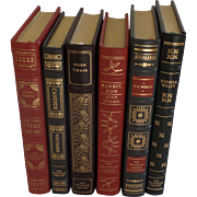 Six (6) Vintage Leather Gilt Tooled Books Franklin Library '80's '90's Verne Voltaire Twain, U