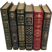 Six (6) Vintage Leather Gilt Tooled Books Franklin Library '80's '90's Conrad, Defoe, Alighier